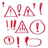 Set hand drawn Exclamation mark. Stock Photos