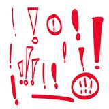 Set hand drawn Exclamation mark. Stock Image