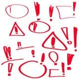 Set hand drawn Exclamation mark. Royalty Free Stock Photos