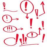 Set hand drawn Exclamation mark. Royalty Free Stock Image