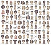 Set of 100 hand drawn faces stock image
