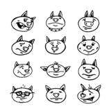 Set of hand-drawn faces of pigs. Vector illustration. EPS 10 royalty free illustration
