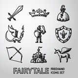 Set of hand drawn fairytale, game icons. Vector Royalty Free Stock Image