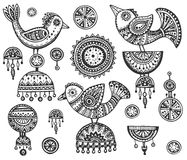 Set of hand drawn fancy birds in ethnic ornate doodle style Stock Image