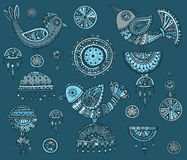 Set of hand drawn fancy birds in ethnic ornate doodle style Royalty Free Stock Image