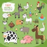 Set of hand-drawn farm animals stock illustration