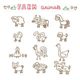 Set of hand drawn farm animals. Sheep, cow, horse, pig, goose, d Royalty Free Stock Photography