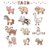 Set of hand drawn farm animals Royalty Free Stock Photo