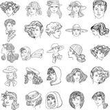 Set hand-drawn fashion model. Royalty Free Stock Images
