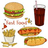A set of hand-drawn fast food. Eating fast food for menus, and advertising or packaging. Sketch. Vector design royalty free stock photography