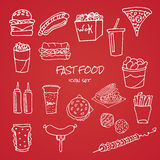 Set of hand drawn fast food icons on red background vector illustration