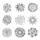 Set of hand drawn fireworks isolated on white background. Set of hand drawn doodle fireworks isolated on white background Stock Photography