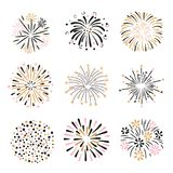 Set of hand drawn fireworks in pink, golden and black colors. Vector illustration Stock Photos