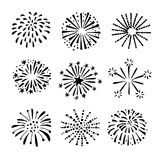 Set of hand drawn fireworks, sunbursts.  black white  objects, icons. Set of hand drawn fireworks and sunbursts.  black white  objects, icons Stock Images