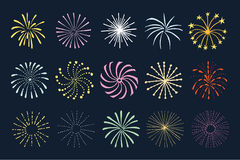 Set of hand drawn fireworks and sunbursts,  s Stock Photo
