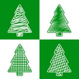 Set of hand drawn firtrees Royalty Free Stock Images