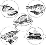Set of hand drawn fish dishes Royalty Free Stock Photography
