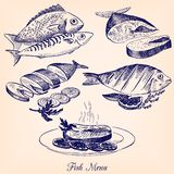 Set of hand drawn fish dishes Stock Photo