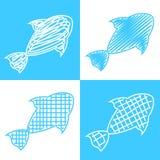 Set of hand drawn fish Stock Photo