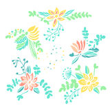 Set of hand drawn floral compositions Stock Photo