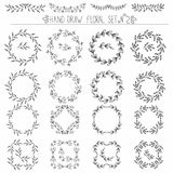 Set of hand drawn floral design elements: corners, curls, wreaths. Royalty Free Stock Photos
