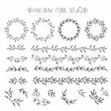 Set of hand drawn floral design elements ΠRoyalty Free Stock Photo