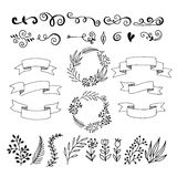 Set hand-drawn floral elements. Ribbons for inscriptions. Stock Image