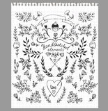 Set of hand-drawn floral elements Stock Image