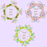 Set of hand drawn floral frames, floral wreath vector clip art Royalty Free Stock Image