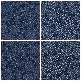 Set of hand drawn floral seamless blue indigo Royalty Free Stock Images