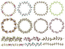 Set of hand drawn floral of wreaths the rustic style. Stock Photo
