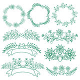 Set of hand drawn floral of wreaths the rustic style. Royalty Free Stock Photos