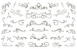 Set of hand drawn flourish elements, vintage styled calligraphic flourishes. royalty free illustration