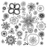 Set of hand drawn flowers Royalty Free Stock Photography