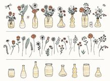Set of hand drawn flowers and gold patterned vases Stock Photos