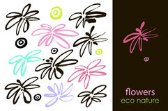 Set of hand drawn flowers, green leaf, sketches and doodles of pink flowers and plants, flowers vector collection. Design elements with ink and brush. Hand Royalty Free Stock Photo