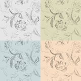 Set of hand drawn flowers patterns Royalty Free Stock Photography