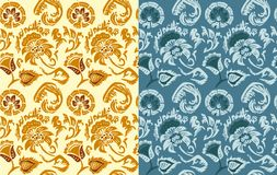 Set of hand drawn flowers patterns in Russian style Stock Images