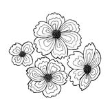 Set of hand-drawn flowers. Line drawing technique, suitable for coloring Stock Photo