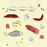 Set of hand drawn food Royalty Free Stock Photography