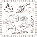 Set of hand drawn food: bread, french baguette, croissant and bun. Vector illustration, isolated on white Stock Photo