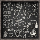 Set of hand-drawn food on chalkboard. Restaurant food menu design. Vector illustration. Royalty Free Stock Photos