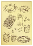 Set of hand drawn food Stock Photos