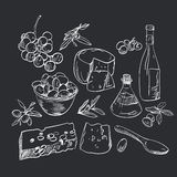 Set of hand drawn food Royalty Free Stock Images