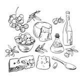 Set of hand drawn food Stock Image