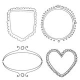Set of hand drawn frame and dividers. Doodle Stock Image