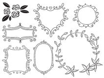 A set of hand-drawn frames for celebration. Set of vintage frames for your design royalty free illustration