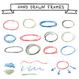 Set of hand drawn frames Stock Photos