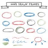 Set of hand drawn frames Stock Photos