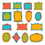 Set of hand drawn frames. Cute decorative elements Stock Photos